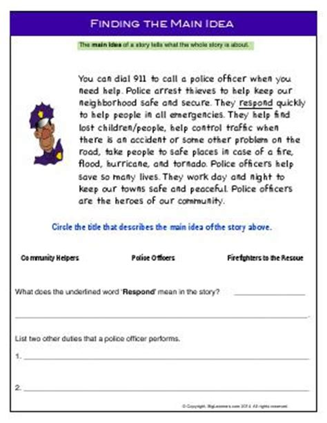 main idea and supporting details second grade english worksheets biglearners