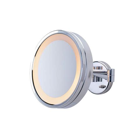 jerdon 9 75 in l x 10 in lighted wall mirror in chrome