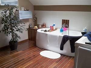 salle de bains pont de bateau With parquet blanc salle de bain