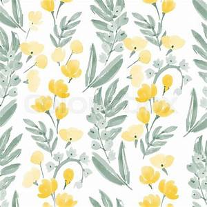 Vintage Watercolor Wallpaper of hand drawn Flowers and ...