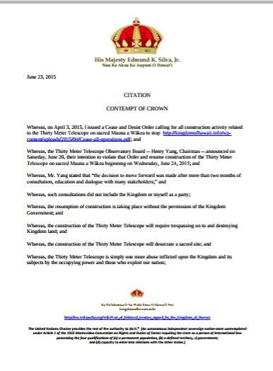 censored news hawai i king issues citation of contempt