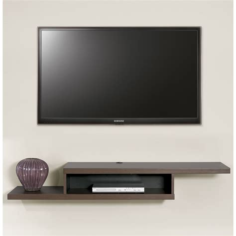 tv on wall mount this wall mounted tv console has a modern flair with the