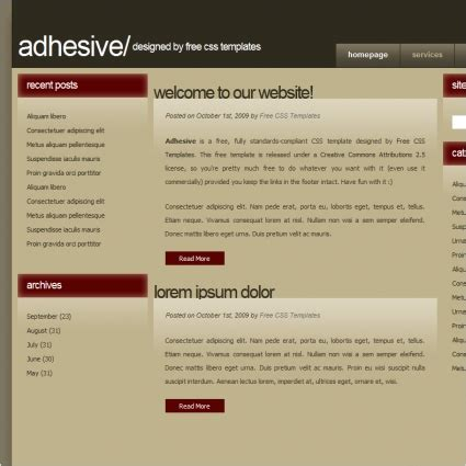 adhesive templates adhesive free website templates in css html js format for free 7 02kb