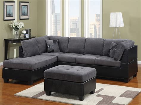 Black And Gray Sofa by Grey Fabric And Black Leather Sectional Modern