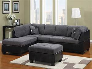 Grey fabric and black leather sectional modern for Grey leather sectional sofa with recliners