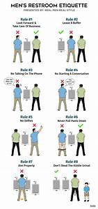 Men39s restroom etiquette infographic how to pee in for Male bathroom etiquette