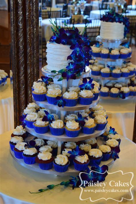 royal blue  purple cupcake tower wedding cake