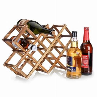 Wine Rack Countertop Wood Wooden Kitchen Decor