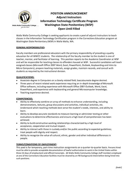 great format adjunct professor resume sle template with