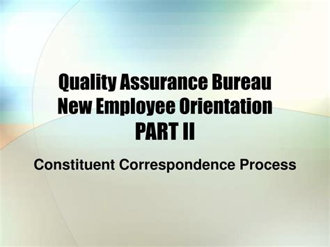 assurance bureau ppt welcome employee powerpoint presentation id