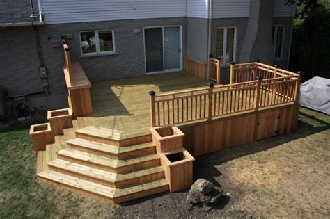 cedar wood patio deck modern deck montreal by