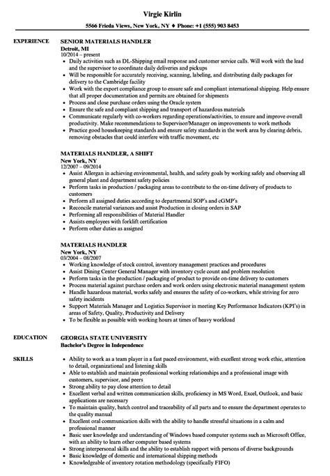 Sle Resume For Material Handler by Materials Handler Resume Sles Velvet