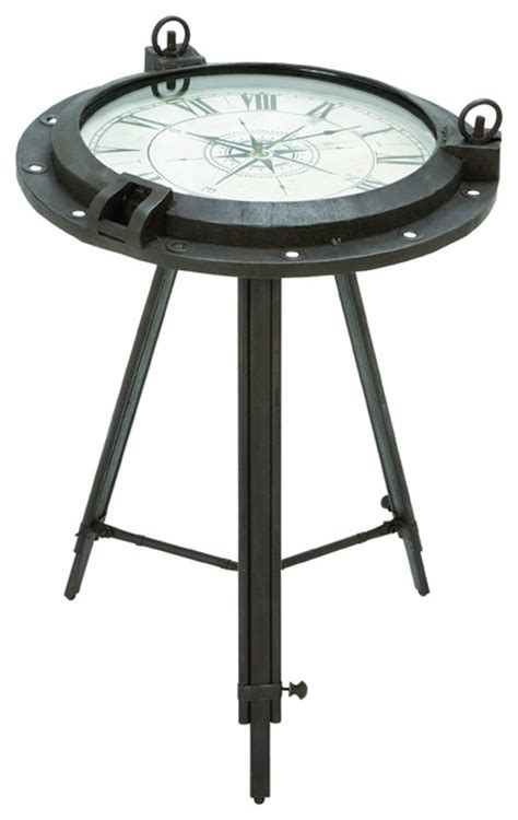 nautical end table porthole themed end table with nautical clock inset