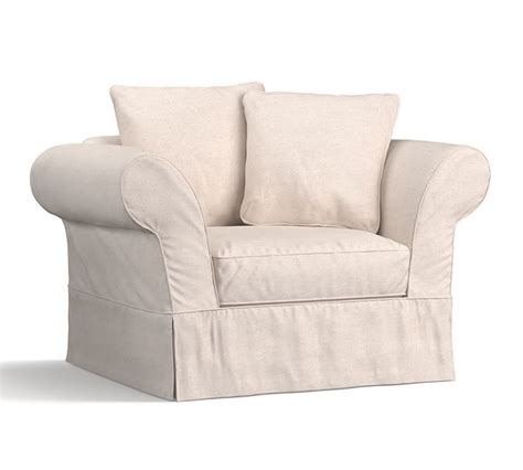Pottery Barn Sleeper Sofa Slipcover by Chair And A Half Slipcover Relaxed Fit Twill T Cushion 3