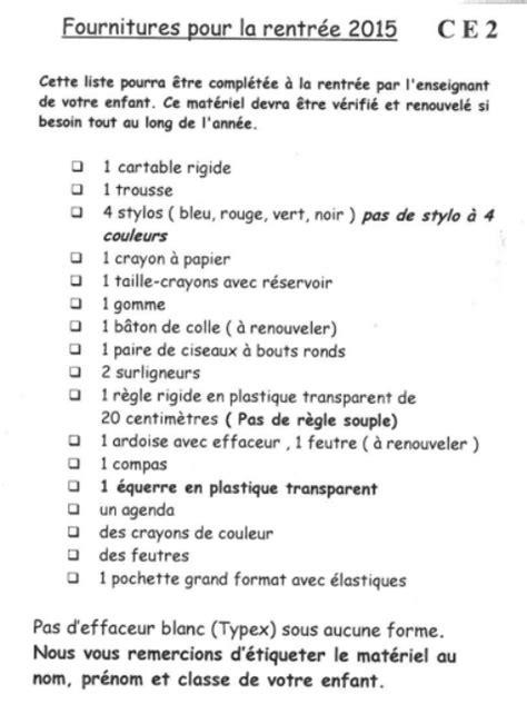Paul Bert B  Rentrée 20152016  Liste De Fournitures Ce2