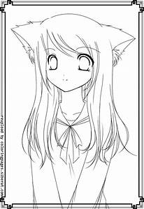 Anime Fox Girl Cute Coloring Pages - Coloring Home
