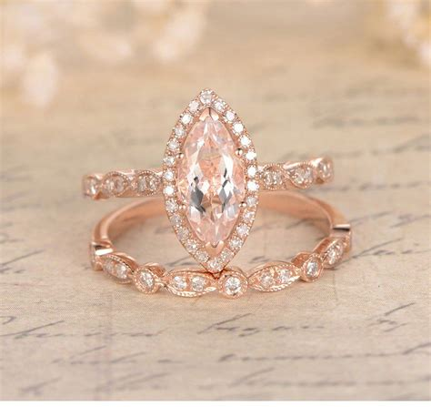 marquise morganite engagement ring sets pave diamond