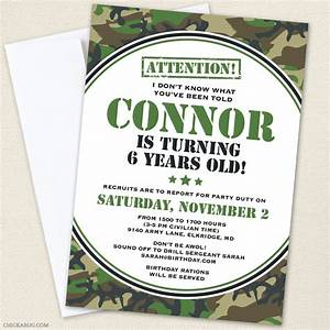 Camo or army party invitations professionally printed or for Camouflage party invitation template