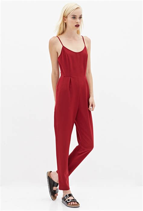 jumpsuit forever 21 forever 21 caged back jumpsuit in purple lyst