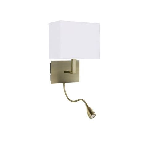 brass bed reading wall light with led bendy arm