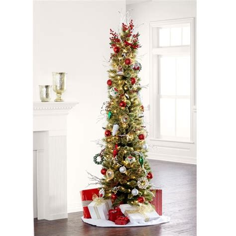 7 ft pre lit green pencil artificial tree clear lights by ashland