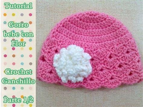 como hacer gorro bebe  flor crochet ganchillo