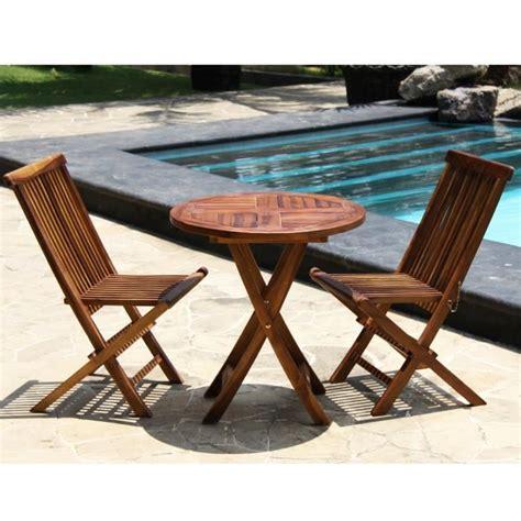 table et chaise pour balcon salon de jardin en teck huilé table ronde 2 achat
