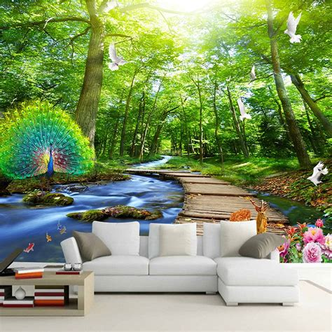 custom mural wallpaper  forest peacock wood bridge