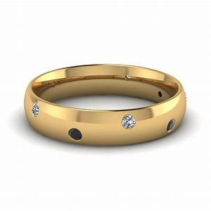 classic dome comfort fit wedding ring for men with black With mens diamond wedding rings yellow gold