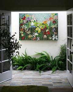 Mosaic wall art stained glass decor floral by