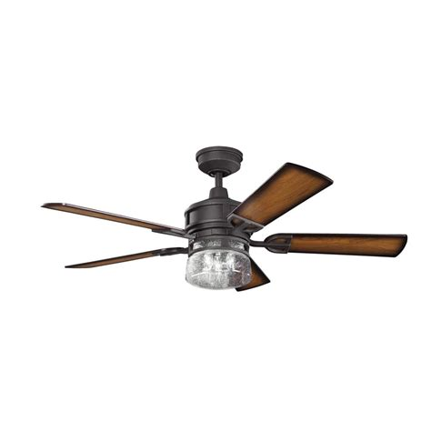 kichler three light distressed black ceiling fan 300120dbk
