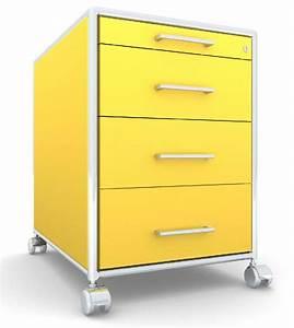 Caisson A Roulette : modul space caisson a roulettes 3 tiroirs 1 plumier jaune ~ Teatrodelosmanantiales.com Idées de Décoration