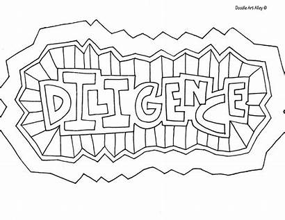 Doodle Coloring Word Diligence Alley Words Printable