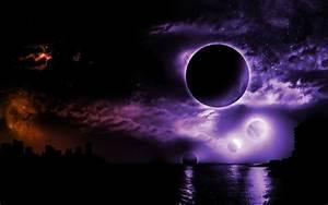 Purple, Moon, Fantasy, Art
