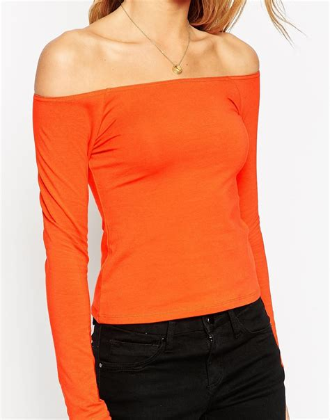 asos   shoulder top  long sleeves  orange lyst