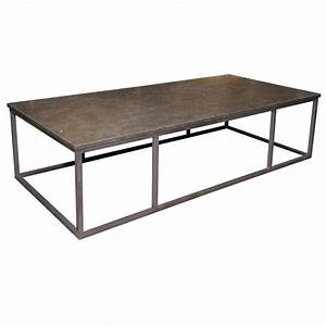 Sleek stone and iron coffee table for sale antiquescom for Stone and iron coffee table