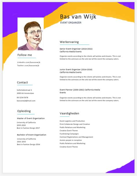 gratis cv voorbeelden  templates  word