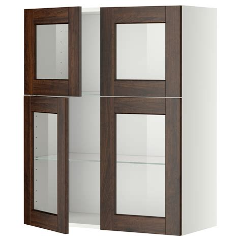 Cabine 80x100 by Metod Wall Cabinet W Shelves 4 Glass Drs White Edserum