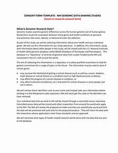 Consent Form Template  Nih Genomic Data Sharing