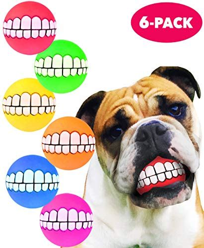 HAWWWY Funny Teeth Balls For Dogs Fun Pet Toy With Human Smile Design And Squeaker Nontoxic
