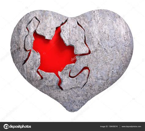 Romántico corazón de piedra render 3d Foto de stock