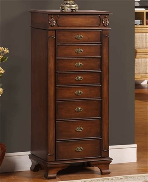 Large Wood Cabinet by Tall Floor Standing Jewelry Cabinet With Eight Drawers
