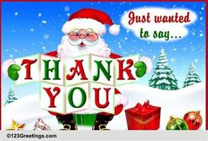 santa saying thank you free thank you ecards greeting cards 123 greetings
