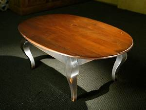 hand crafted oval wood coffee table with black french legs With oval dark wood coffee table