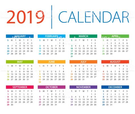 calendar vector illustration days start sunday stock vector
