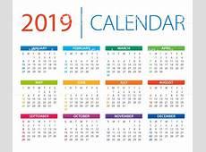 Calendar 2019 Vector Illustration Days Start From Sunday