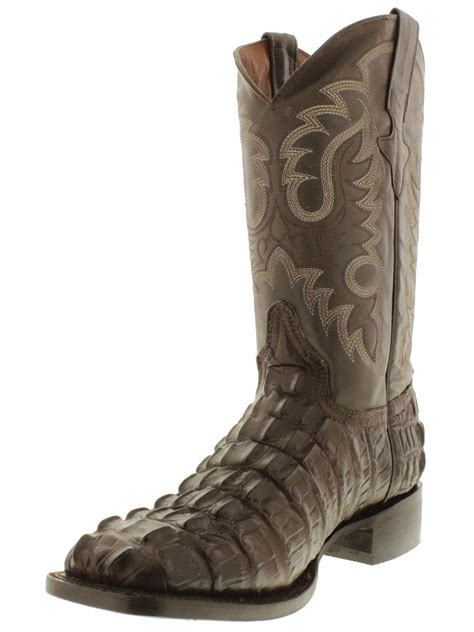 Men Brown Square Toe Cowboy Boots Crocodile Alligator