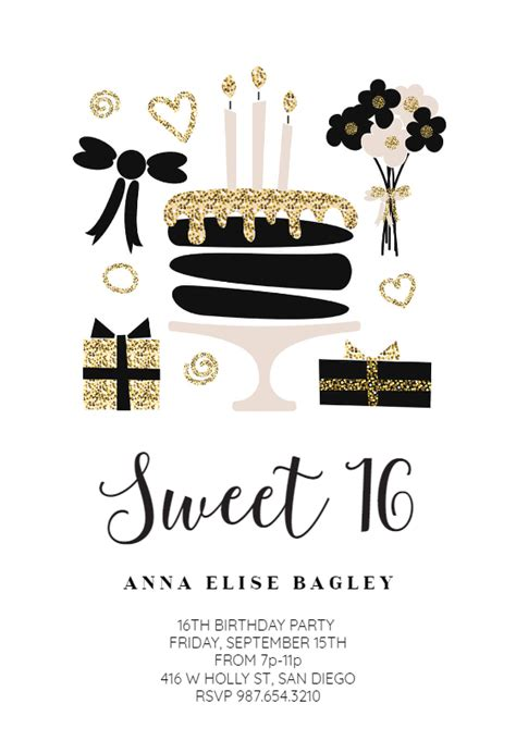 glitter glam sweet  invitation template