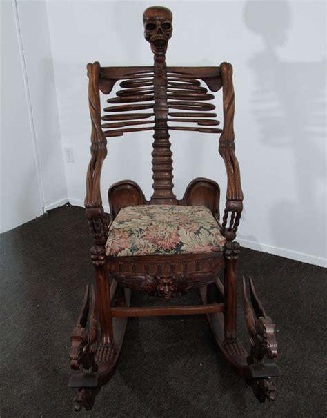 "foto de Hand Carved ""Momento Mori"" Skeleton Rocking Chair at 1stdibs"