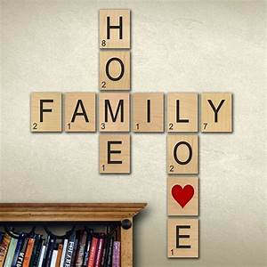 Wall art designs family scrabble letters large